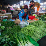 Prodavačka zeleniny na trhu v Nyaungshwe