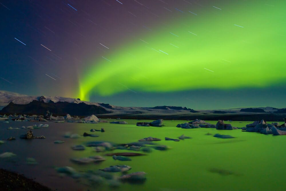 Polární záře nad Jökulsárlónem