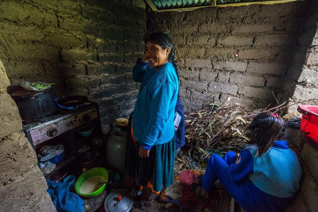 kuchyně obyvatel ostrova Amantani, Titicaca, Peru