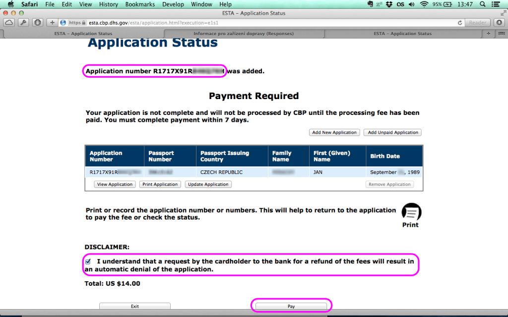 Vyplnění žádosti ESTA - krok 6
