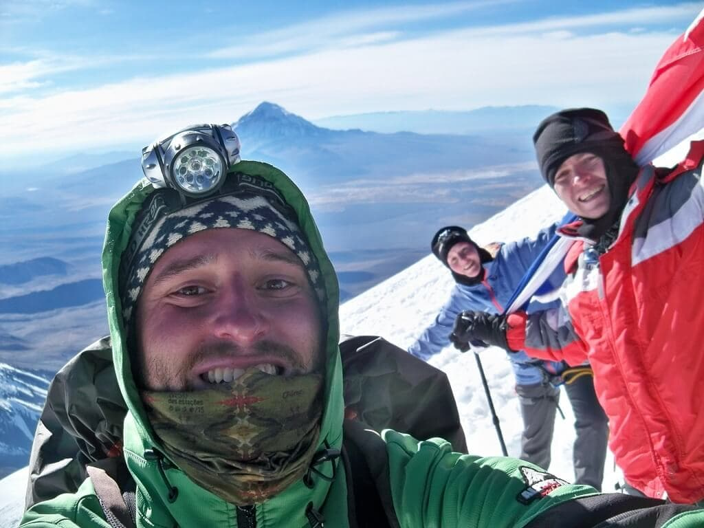 Výstup s klienty na vulkán Parinacota v Bolívii