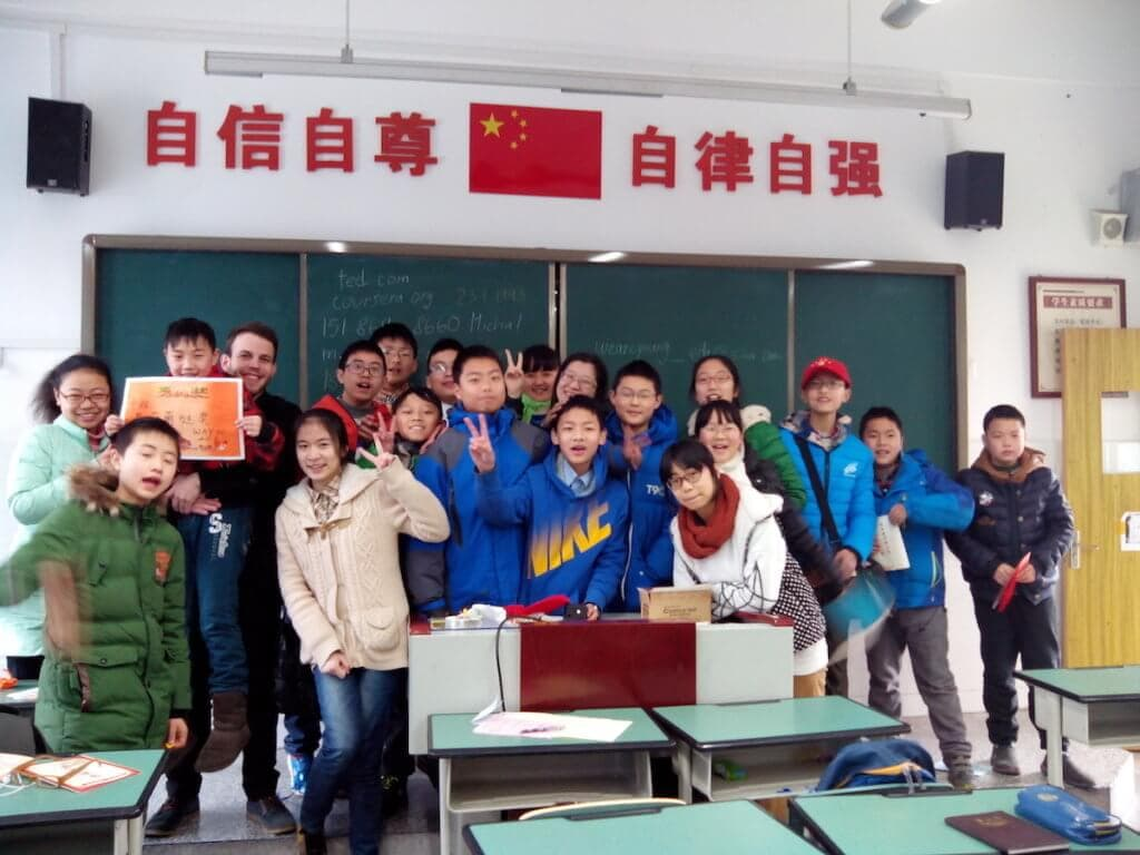 Michal učí angličtinu v Chengdu