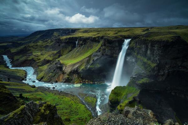 Jeden z nejvyšších vodopádů Islandu - Háifoss