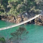 Visutý most přes řeku v Národním parku Tsitsikamma