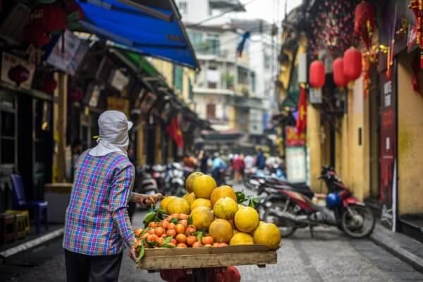 Pouliční scéna ve Vietnamu