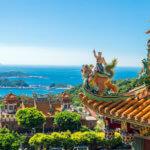 Nádherný výhled na ostrovy od chrámu v Juifen